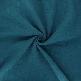 Tissu double gaze de coton MPM- pétrole x 10cm