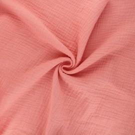 Tissu double gaze de coton MPM - abricot x 10cm