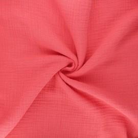Tissu double gaze de coton MPM - fraise x 10cm