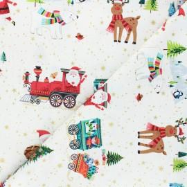 Makower UK cotton fabric Santa express - raw Placement x 10cm