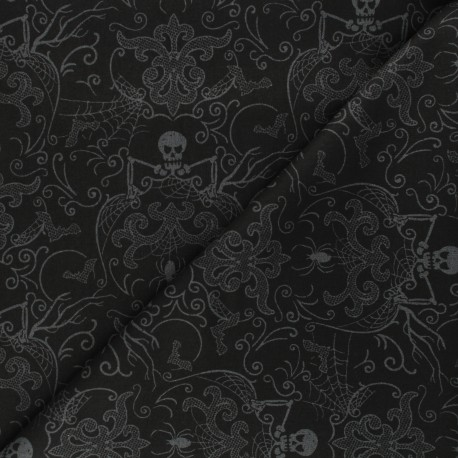 Andover Fabrics cotton fabric - grey/black Spooky Damask x 10cm