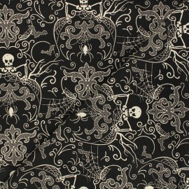 Tissu coton Andover Fabrics Spooky Damask - noir/blanc x 10cm