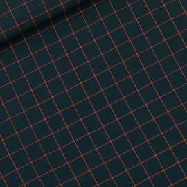 See you at six viscose fabric - forest river green Thin grid S x 10 cm