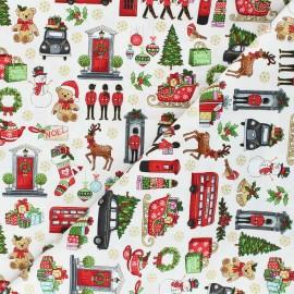 Makower UK cotton fabric London Xmas - raw Icons x 10cm