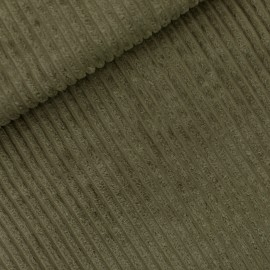See you at six ribbed velvet fabric - khaki green x 10 cm