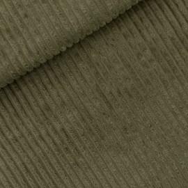 Tissu See you at six velours grosses côtes - vert kaki x 10cm