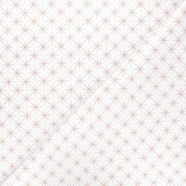 Cotton fabric - white Rosegold stars x 10cm