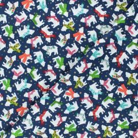 Tissu coton Makower UK Santa express Polar bear - bleu nuit x 10cm