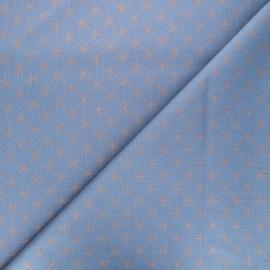 Cotton fabric - blue Rosegold stars x 10cm