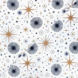 Cotton fabric - white Rosegold firework x 10cm