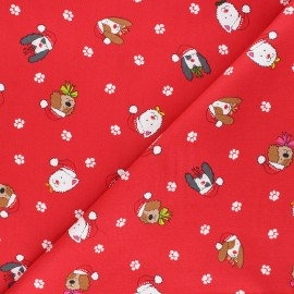 Makower UK cotton fabric Yappy Christmas - red Dog heads x 10cm
