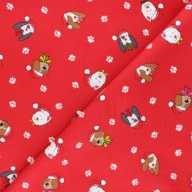 Tissu coton Makower UK Yappy Christmas Dog heads - rouge x 10cm