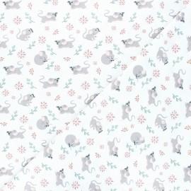Tissu jersey Souris fleuries - blanc x 10cm