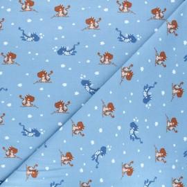 Printed jersey fabric - blue Dracène x 10cm