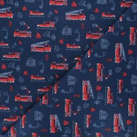 Tissu jersey Au feu! - bleu marine x 10cm