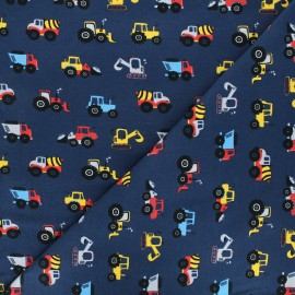 Printed jersey fabric - navy blue Construction day x 10cm