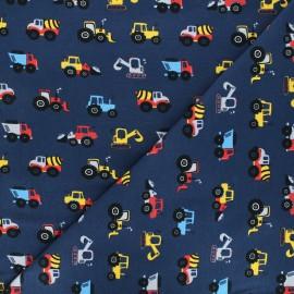 Tissu jersey Construction day - bleu marine x 10cm