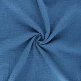 Tissu double gaze de coton MPM - bleu capri x 10cm