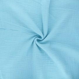 Tissu double gaze de coton MPM - bleu givré x 10cm