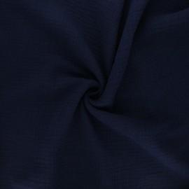 Tissu double gaze de coton MPM - bleu nuit x 10cm