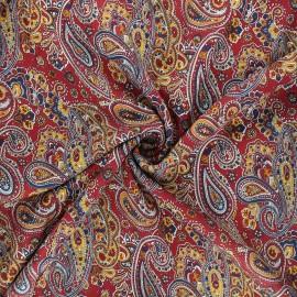 Tissu twill viscose Persian - rouge x 10cm