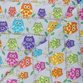 Makower UK cotton fabric Hoot hoot - grey Owl perch x 10cm