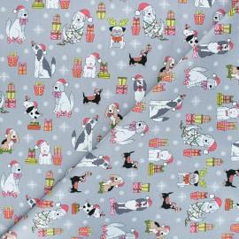 Makower UK cotton fabric Yappy Christmas - grey Dog scatter x 10cm