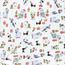 Makower UK cotton fabric Yappy Christmas - raw Dog scatter x 10cm