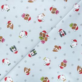 Makower UK cotton fabric Yappy Christmas - light grey Dog heads x 10cm