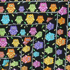 Makower UK cotton fabric Hoot hoot - black Owl perch x 10cm
