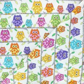 Makower UK cotton fabric Hoot hoot - raw Owl perch x 10cm