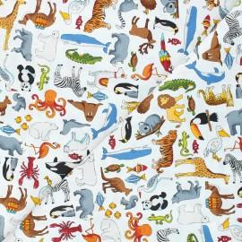 Makower UK cotton fabric Around the world - white Animals x 10cm