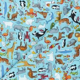 Tissu coton Makower UK Around the world Animals - bleu x 10cm