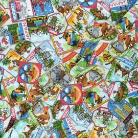 Tissu coton Makower UK Around the world Labels - bleu x 10cm