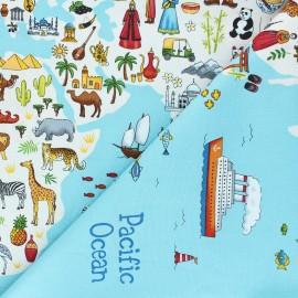 Tissu panneau coton Makower UK Around the world Map - bleu x 58cm