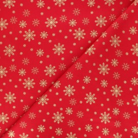 Cotton fabric - red Golden snowflakes x 10cm
