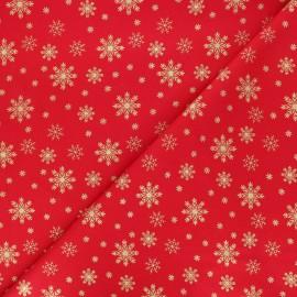 Tissu coton Golden snowflakes - rouge x 10cm