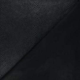 Suede elastane fabric - black Python x 10cm