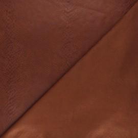 Suede elastane fabric - brown Python x 10cm