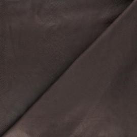 Suede elastane fabric - chocolate Python x 10cm