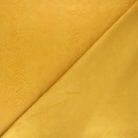Suede elastane fabric - mustard yellow Python x 10cm