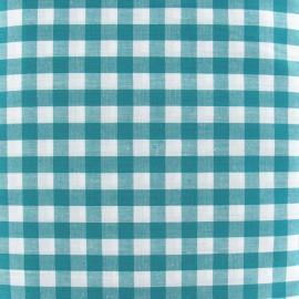 ♥ Coupon 30 cm X 150 cm ♥  Tissu Vichy grands carreaux bleu-vert