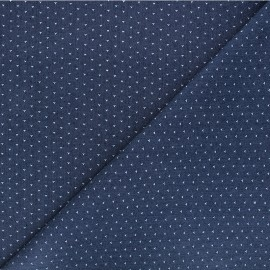 Patterned elastane jeans fabric - dark blue Dotty x 10cm