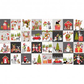 Makower UK panel cotton fabric Yappy Christmas - grey Blocks x 60cm
