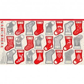 Makower UK panel cotton fabric Scandi - grey/red Mini stocking advent x 60cm