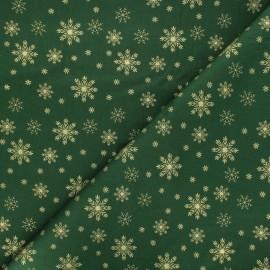 Cotton fabric - green Golden snowflakes x 10cm