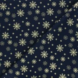 Cotton fabric - dark blue Golden snowflakes x 10cm