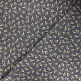 Cotton fabric - grey Golden leaves x 10cm