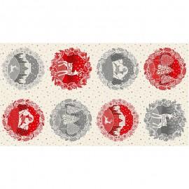 Tissu panneau coton Makower UK Scandi Circle - écru x 60cm