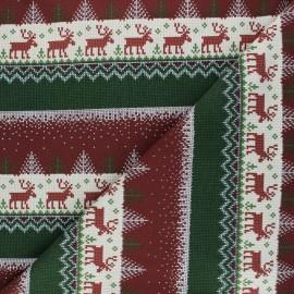 Tissu sweat Pull de Noël - rouge x 10cm